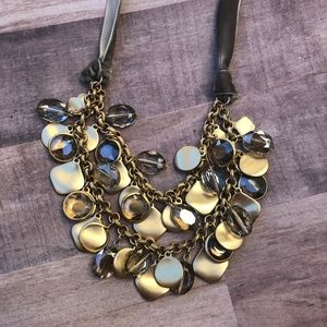 Gold Beaded Velvel Lace Tie Necklace